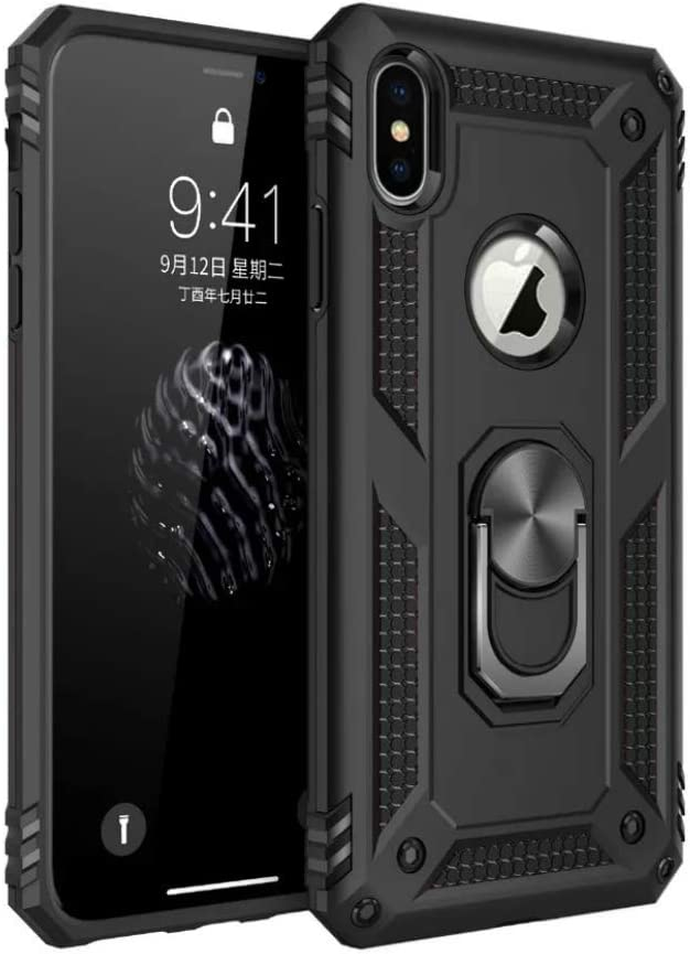 RedLin Anti Shock Case for iPhone 7 Plus,iPhone 8 Plus,360-Degree Swivel Ring Stand,Car Magnetic Adsorption,Heavy Duty Shockproof Hard PC Back Cover Compatible with Apple iPhone 7/8 Plus(Black)