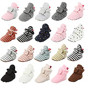 HsdsBebe Isbasic Unisex Infant Baby Cotton Booties Non-Skid Toddler Slippers Infant Winter Warm Fleece Cozie Socks Shoes (0-6 Months Infant, Stripe-Pink)