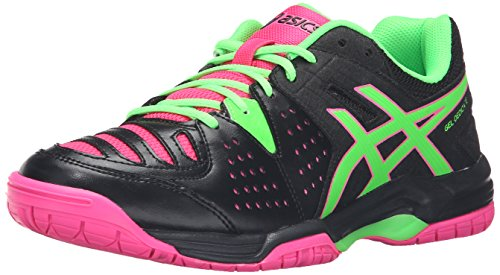 ASICS Women's Gel-Dedicate 4 Tennis Shoe, Black/Green Gecko/Hot Pink, 11.5 M US