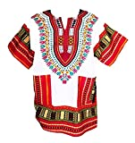 Vipada Handmade Men's Dashiki Shirt African Shirt Caftan Kaftan Ethic Large Size (White and Rasberry) L