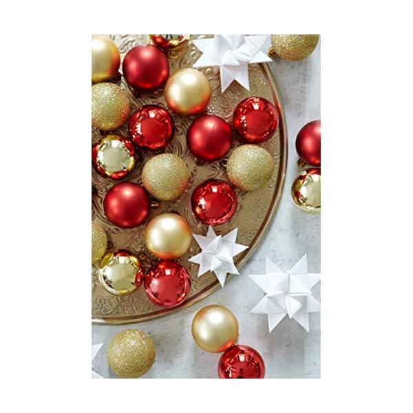 HEITMANN DECO Krebs & Sohn Set di 30 Palline di Natale in Vetro - Albero di Natale Deco Appeso - Palle di Natale - Rosso Oro 2 spesavip