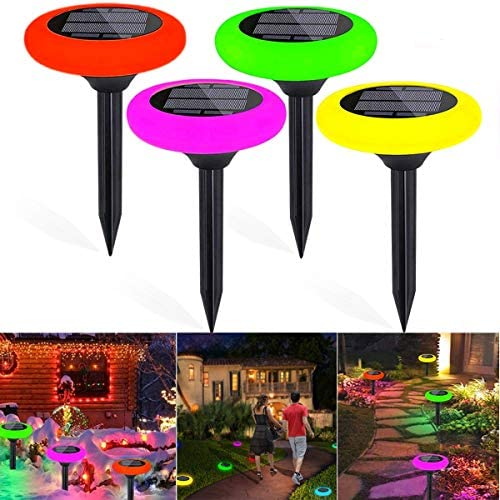 4 Pcs Solar Landscap Path Lights with 7 Colour Changing Outdoor Lawn Pathway Lights IP65 Waterproof Decoration Lights for Back Yard,Walkway,Patio,Garden