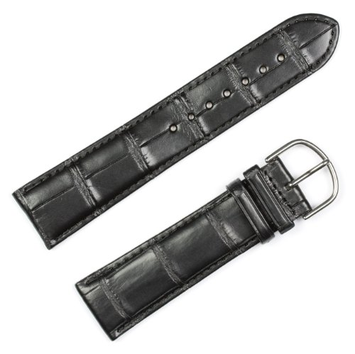 Genuine Alligator Watchband Black 20mm Watch band by (Black Genuine Alligator)