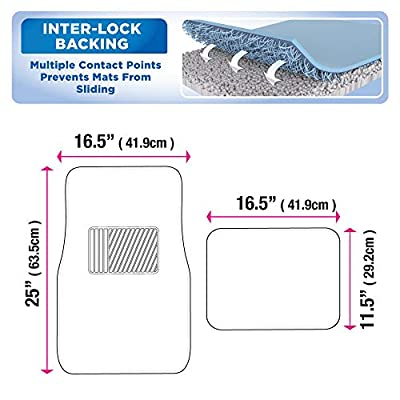 BDK Interlock Car Floor Mats - Secure No-Slip Technology for Automotive Interiors - 4pc Inter-Locking Carpet (Blue): Automotive