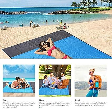 Ultraleicht SAMAU Picknickdecke 210 x 200 cm,Stranddecke wasserdichte Campingdecke Matte mit 4 Pfosten und Tasche,Schnell Trocknend Tragbar f/ür Reisen Wandern Camping