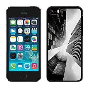 NEW Unique Custom Designed iPhone 5C Phone Case With Skyscraper Buildings Black White Lockscreen_Black Phone Case