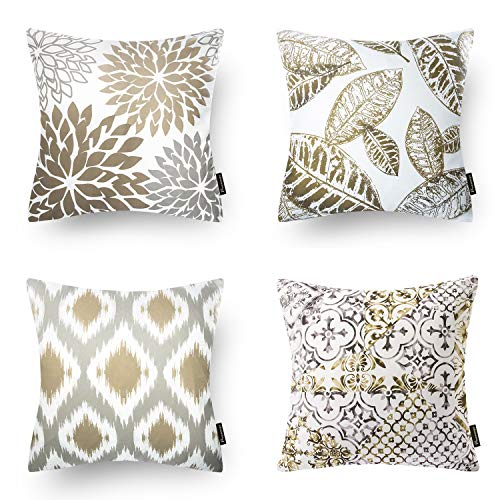 Phantoscope Set of 4 New Living Series Coffee Color Decorative Throw Pillow Case Cushion Cover 18 x 18 inches 45cm x 45cm