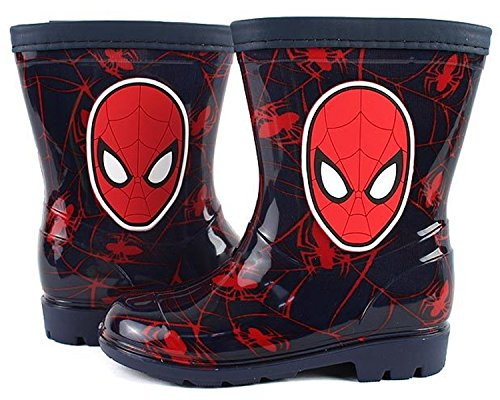 Marvel Spiderman Spider Net Black Red Rainboot 8 M US Toddler