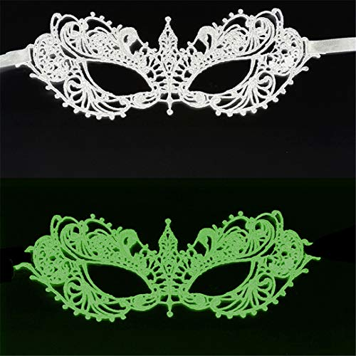 PATY&COSMSK Ladies Lace Masquerade Mask for Carnival Halloween Ball Masquerade Hollow Out Half Face Party Masks W-2D-YG ()