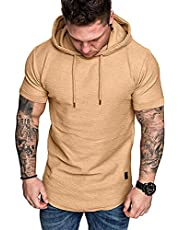 CAKEY Mens Short-Sleeved Hooded Gym Shirt Short-Sleeved T-Shirt with Solid Color Hood Running Athletic Sports T-Shirts