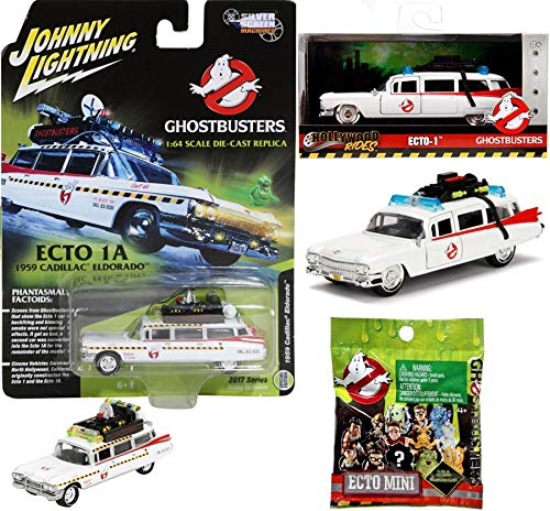 Ecto Hollywood Die-Cast Replica Ghostbusters Ecto-1 1959 Cadillac Ambulance + Part 2 Eldorado Car Silver Screens + Ghostbusters Mini Blind Bag Movie Set Limited Edition 3-Pack Johnny Lightning Jada ()