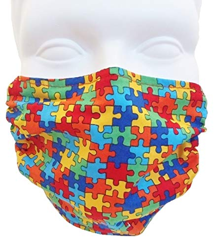 Breathe Healthy Dust and Allergy Face Mask - Comfortable, Reusable Anti Dust Mask - Filters Dust, Pollen, Allergens, Flu Germs; Puzzle Pieces Design