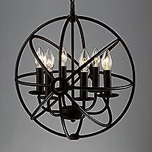 "Industrial Vintage Retro Pendant Light - LITFAD 17"" Edison Metal Globe Shade Hanging Ceiling Light Chandelier Pendant Lamp Fixture Black Finish with 6 Lights (6 Lights Black)"