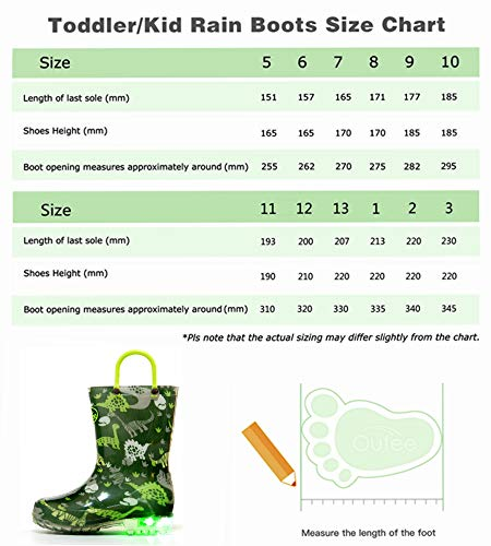 Pictures of Outee Kids Toddler Boys Rain Boots Waterproof BLP18ADNSGRN13 2
