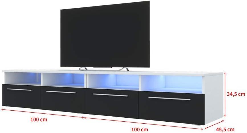 Selsey PHIRIS Double 2x100 cm, ch/êne wotan//Noir Brillant, /éclairage LED Meuble TV//Banc TV