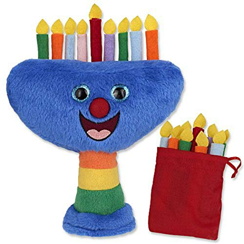 AJI Musical Plush Hanukkah Menorah with Removable Candles and Storage Pouch, Plays 2 Songs (Hanukkah Plush)