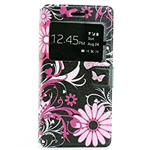 Gift_Source P8 Lite Funda, P8 Lite Phone Funda, De pie Cuero de la PU Folio Flip Carcasa pistolera lujo Resistente a Arañazos Funda para Huawei P8 Lite [ Flor ]