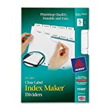 Wholesale CASE of 25 - Avery Index Maker 7-Hole Clear Label Dividers-Index Maker Dividers, 5 Tabs, 8-1/2''x5-1/2'', White