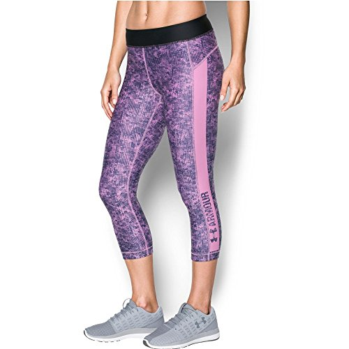 Under Armour Women's HeatGear Armour Printed Graphic Capris,Icelandic Rose (924)/Metallic Silver, X-Small
