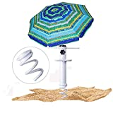 Beach Umbrella Sand Anchor,Heavy Duty Metal Beach Umbrella Holder-Stands-Sand Grass Auger for Strong Winds