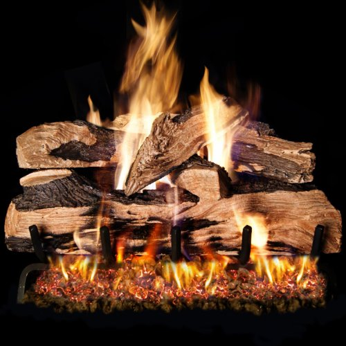 Peterson Real Fyre 24-inch Split Oak Designer Plus Log Set With Vented Propane Ansi Certified G46 Burner - Variable Flame Remote (Propane Oak Red Vented)