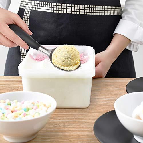 PowerDoF Ice Cream Scoop, Stainless Steel Ice Cream Spoon with Soft Rubber Handle, Perfect Ergonomic Design for Easy Grip, Heavy Duty Icecream Scoop Kitchen Gadgets for Ice Cream, Cookie Dough, Sorbet