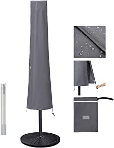 Garden Balsam Patio Umbrella Cover for 9ft to 11ft Patio Umbrellas, Waterproof and Durable Market Umbrella Cover with Zipper and Rod