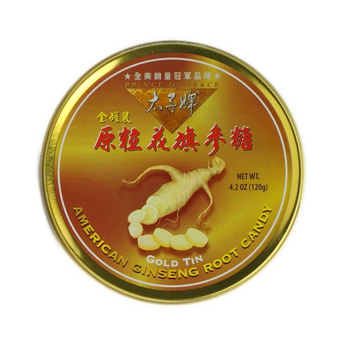 Grm Tin (American Ginseng Root Candy - Gold Tin -120 GRM)