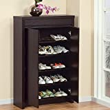 Shoe Cabinet with Storage Drawer Includes Five Shelves for Your Shoes