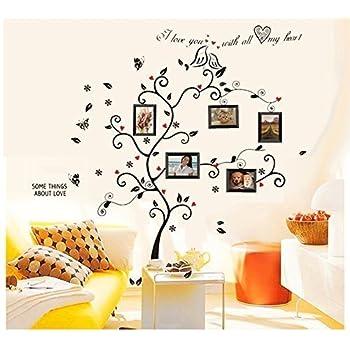 Amazon.com: BOGZON Kiss Birds Trees Hearts Leaves Black Photo ...