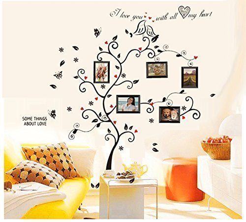 BOGZON Kiss Birds Trees Hearts Leaves Black Photo Picture Frame Decal Removable Wall Decals Large Wall Stickers Love Quotes/Decorative Painting Supplies/Wall Sticker for Living Room Bedroom Wallpops Decal