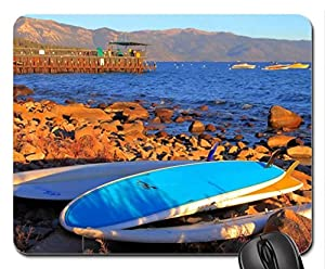 surfboards on a rocky shore Mouse Pad, Mousepad (Beaches Mouse Pad)