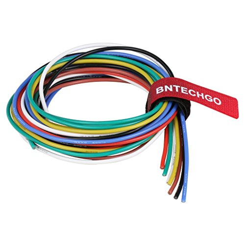 BNTECHGO 18 Gauge Silicone Wire Kit Ultra Flexible 7 Color High Resistant 200 deg C 600V Silicone Rubber Insulation 18 AWG Silicone Wire 150 Strands of Tinned Copper Wire Stranded Wire Battery Cable