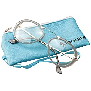 SOOLALA Oversized 55mm Lens Aviator Reading Glass Clear Lens Large Frame, Gray, +0.5