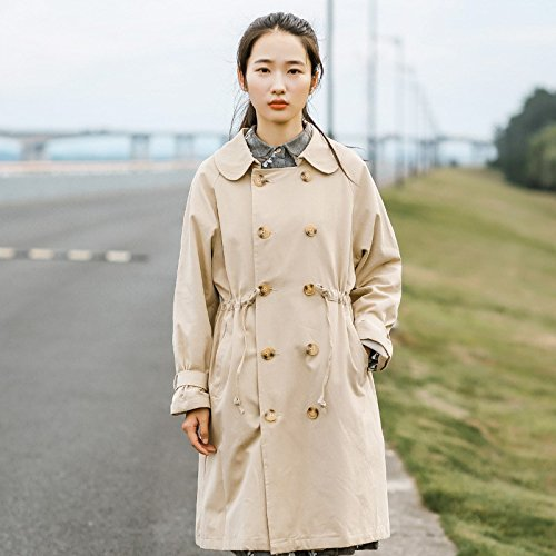 Ladies Xuanku Jacket Color Wind Band Casual Long In Solid Wind Khaki Lapel The Tie Double 1ndUxdqW