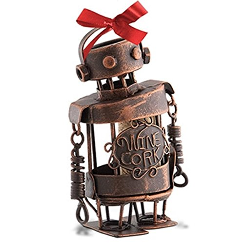 Epic 02-177 Wire and Coil Robot Design Ornament with Ribbon and Wine Corks Inside