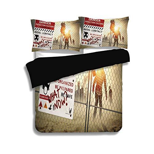 Black Duvet Cover Set Twin Size,Zombie Decor,Dead Man Walking Dark Danger Scary Scene Fiction Halloween Infection Picture,Multicolor,Decorative 3 Pcs Bedding Set by 2 Pillow Shams for $<!--$98.89-->