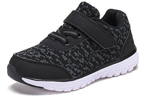 D.SEEK Toddler Hook&Loop Sneakers Little Kid's Boys and Girls Running Sport Shoes SC301 BK-10 ()