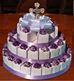 Communion Confirmation Lavender Embossed 42 Rosary Favor Cake Boxes and Centerpiece