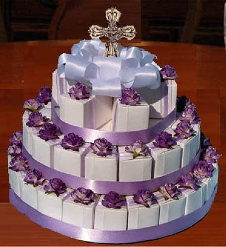 Communion Confirmation Lavender Embossed 42 Rosary Favor Cake Boxes and Centerpiece by LMK Gifts