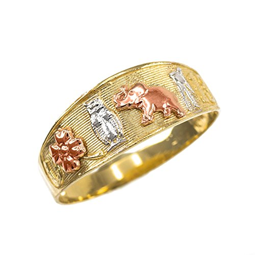 Solid 14k Tri-tone Gold Good Luck Charm Ring (Size 6.5)