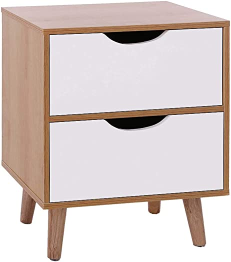 Modern Imitation Wood Storage Simple Bedside, Assemble Storage Cabinet Bedroom Bedside Locker Double Drawer Nightstand Space-Saving Wardrobe Storage Cabinet Chests Organizer Portable C