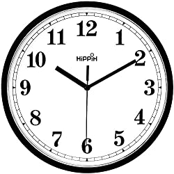 Coindivi Black Wall Clock, Silent Non-Ticking Quality Quartz Battery Operated Wall Clock - 10 Inch Round Easy to Read Decorative for Home Office School