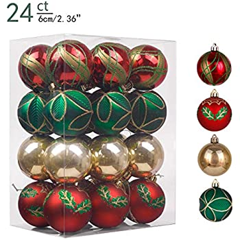 CF Collection Set of 25 Red Gold and Chartreuse Green Shatterproof 70MM Christmas Tree Ball Ornaments