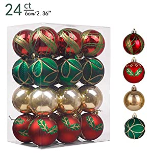 Valery Madelyn 24ct 60mm Country Road Red Green and Gold Shatterproof Christmas Ball Ornaments Decoration,Themed with…