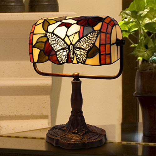 Home Lavish Tiffany Style Bankers Lamp-Stained Glass Butterfly Design Table or Desk Light LED Bulb Included-Vintage Look Colorful Accent Décor