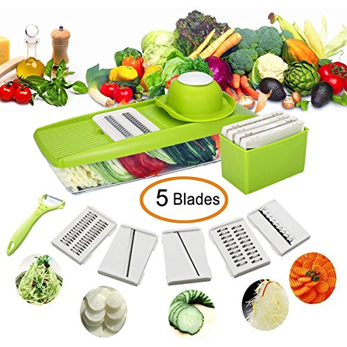 Mandoline Slicer Ajustable - HAIOOU Vegetable Grater Slicer Chopper Dicer Cutter with 5 Thickness Stainless Steel Blades and Food Container and Safety Hand Holder for Cucumber, Onion, Cheese