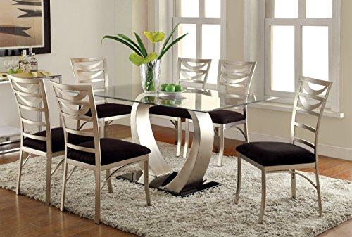 Furniture Of America Alvados III 7 Piece Rectangular Glass Top Dining Set