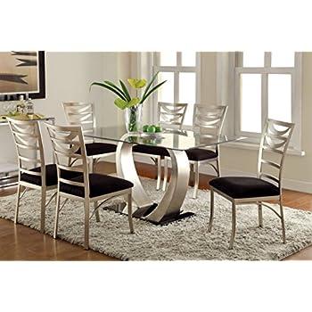 Furniture Of America Alvados III 7 Piece Rectangular Glass Top Dining Set Part 50