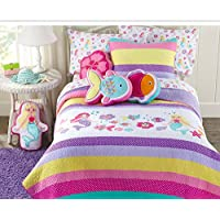 Cozy Line Home Fashions Lilah Mermaid Pink Purple Blue Yellow Green White 100% Cotton Embroidered Pattern Bedspread Bedding Quilt Set (Mermaid, Twin - 2 Piece)